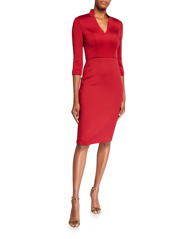 V-Neck 3/4-Sleeve Solid Scuba Dress