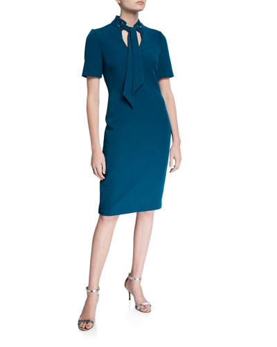 Tie-Neck Short-Sleeve Sheath Dress w/ Mandarin Collar