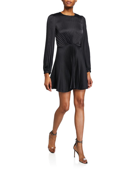 A.L.C. Tavi Pleated Long-Sleeve Short Dress