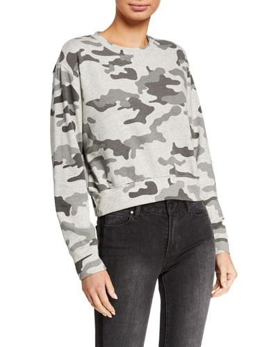 Camo Crop Blouson Sweatshirt