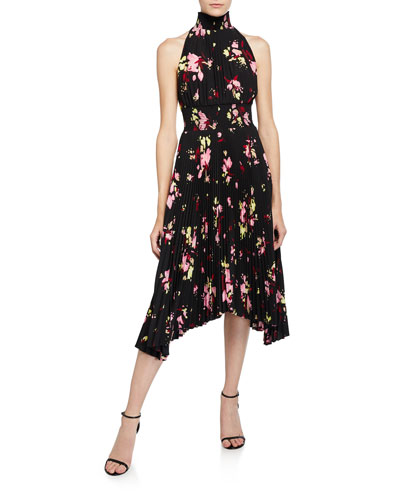 Renzo Pleated Floral Halter Dress