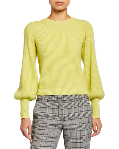 Eliana Crewneck Bishop-Sleeve Sweater