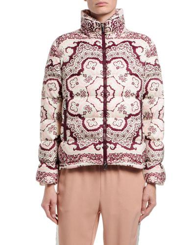 Turquin Printed Puffer Coat w/ Detachable Hood