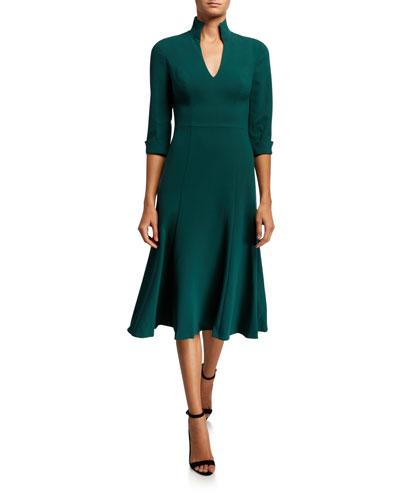 3/4-Sleeve Open Collar Midi Dress