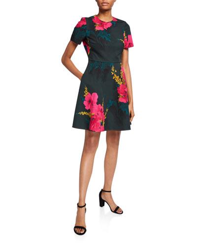 Kaitlyn Floral-Print Short-Sleeve Dress