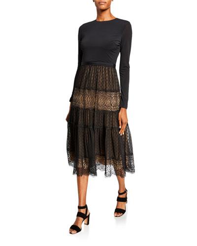 Long-Sleeve Midi Dress w/ Jersey Bodice & Lace Skirt