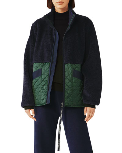 Sherpa & Quilted Zip-Front Jacket