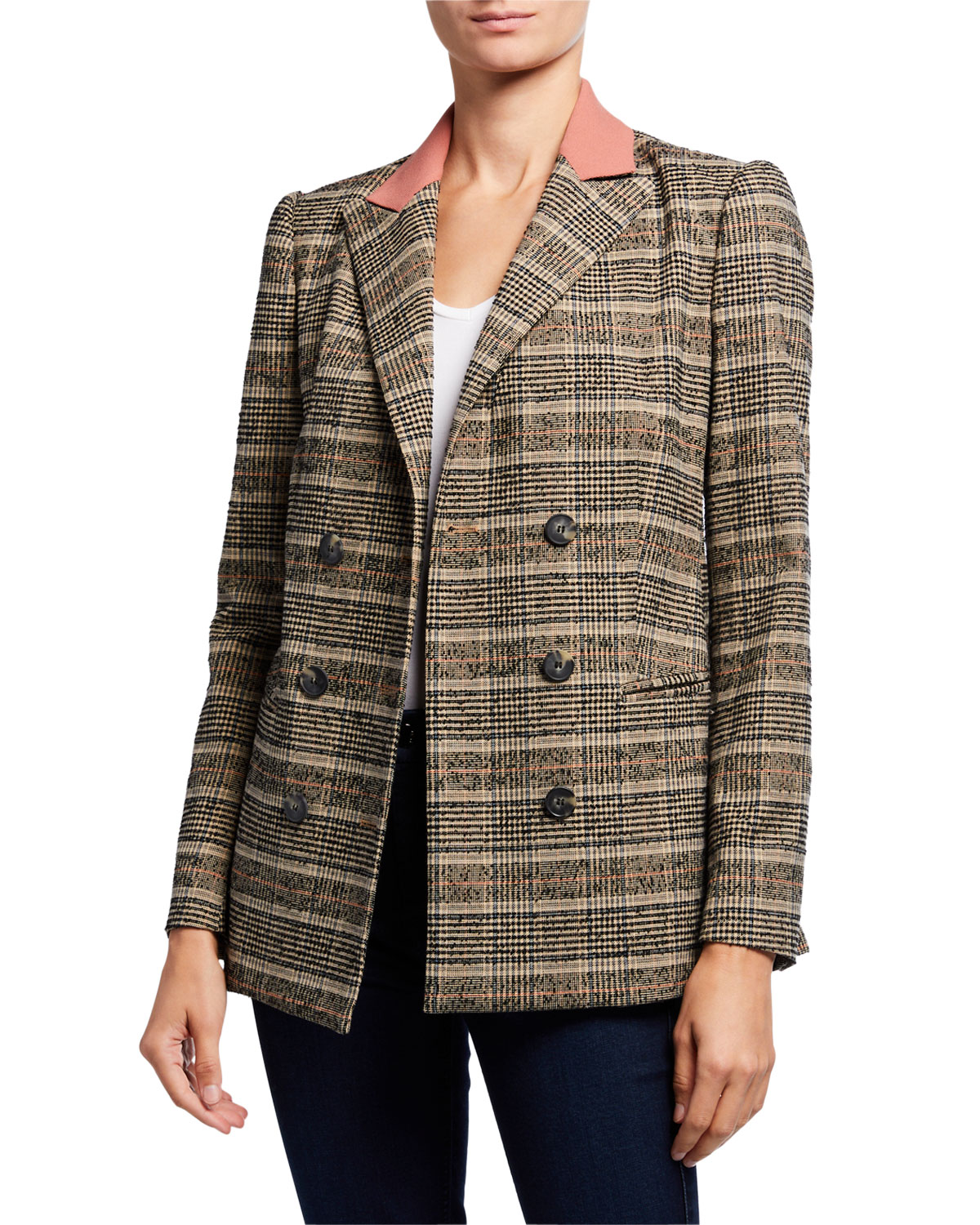 Rebecca Taylor Jackets BOUCLE PLAID DOUBLE-BREASTED JACKET