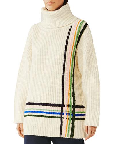 Multi Stripe Merino Wool Oversized Turtleneck Sweater