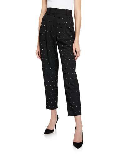 Colin Dotted High-Rise Ankle Pants