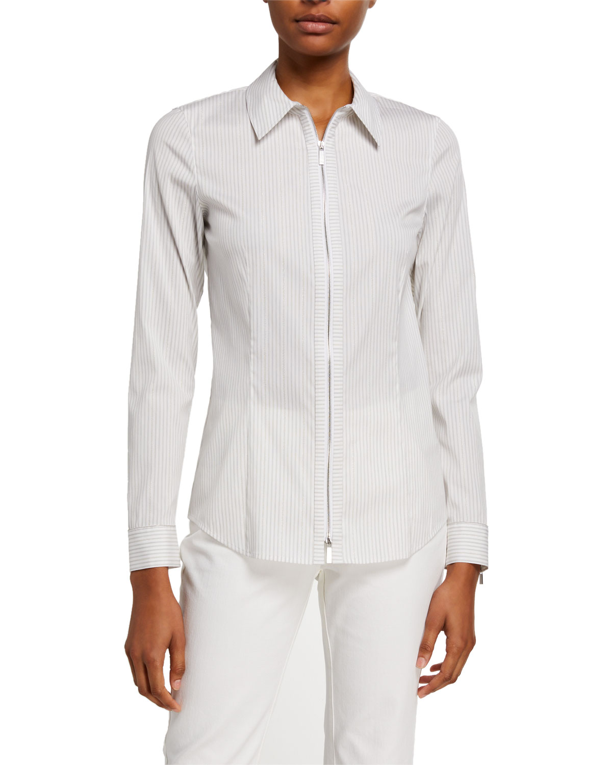 Lafayette 148 T-shirts CONNOR GLISTENING STRIPE ZIP-FRONT SHIRTING BLOUSE