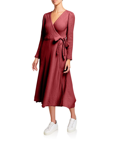 Reece Long-Sleeve Cotton Gauze Wrap Dress