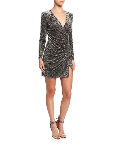 Yasmin Leopard-Print Velvet Wrap Dress