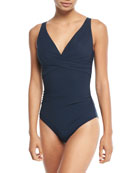 JETS by Jessika Allen Deep-V Cross-Front One-Piece Swimsuit