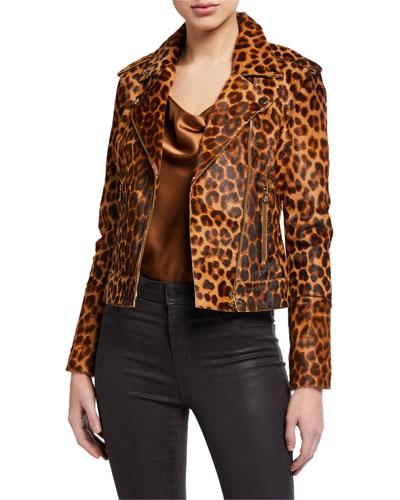 Leopard-Print Goat Hair Biker Jacket