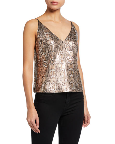 L'Agence Gabriella Sequined Python V-Neck Tank