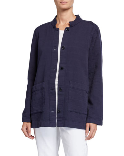 Petite Organic Cotton Channel Jacket w/ Mandarin Collar