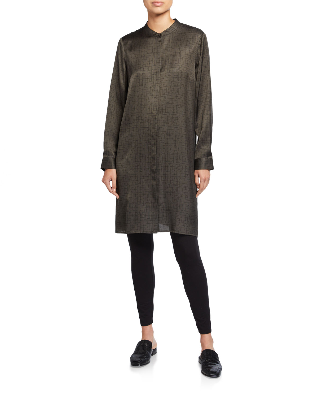 Eileen Fisher Dresses PETITE CROSSROAD PRINT MANDARIN-COLLAR SHIRTDRESS