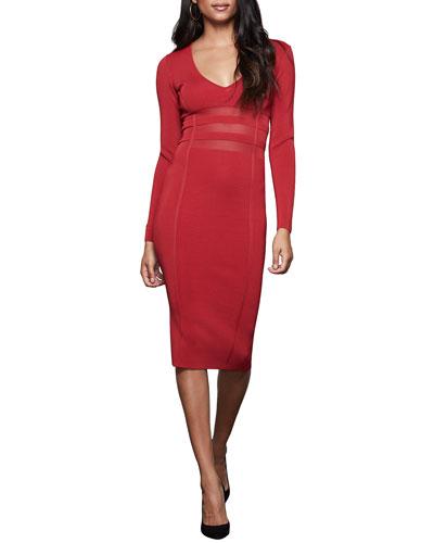 Deep V Long-Sleeve Midi Dress - Inclusive Sizing