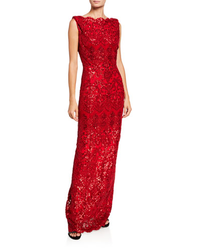 Sleeveless Sequin Lace Column Gown