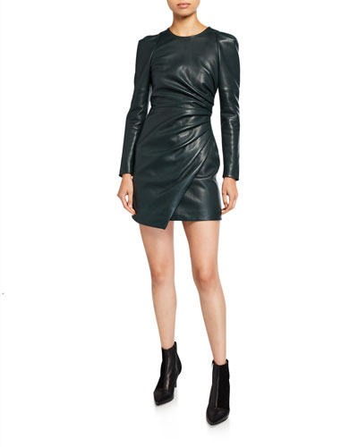Lana Draped Leather Long-Sleeve Dress