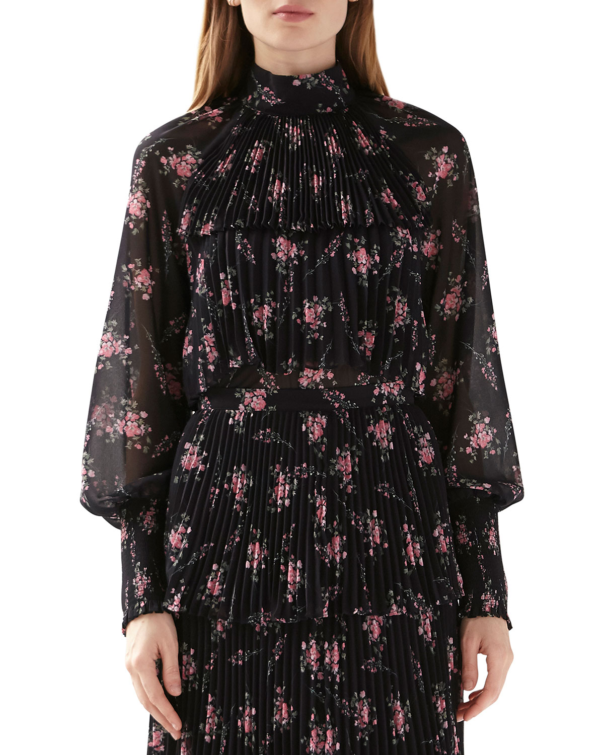 Ml Monique Lhuillier LONG-SLEEVE PLEATED FLORAL TOP W/ SMOCKING