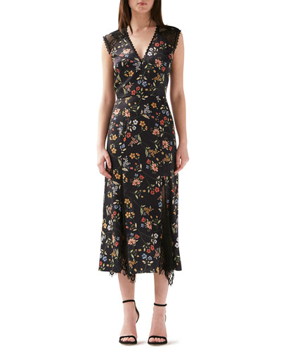 V-Neck Floral-Print Sleeveless Dress w/ Lace Godet