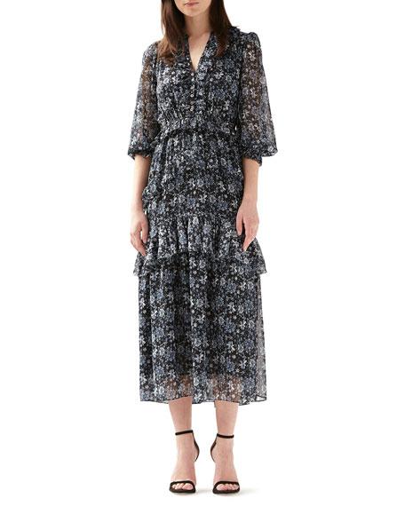 ML Monique Lhuillier Ruffled Button-Front Tiered Midi Dress