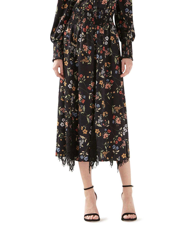 Floral-Print Smocked Lace Godet Skirt