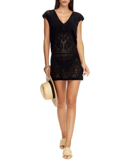 JETS by Jessika Allen Lace Knit Coverup Shift Dress