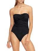 JETS by Jessika Allen Draped Bandeau One-Piece Swimsuit,
