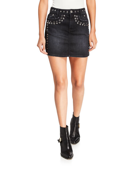 Current/Elliott The 7-Pocket Studded Mini Skirt