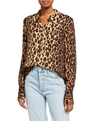 A.L.C. Emerson Leopard Button-Down Silk Top