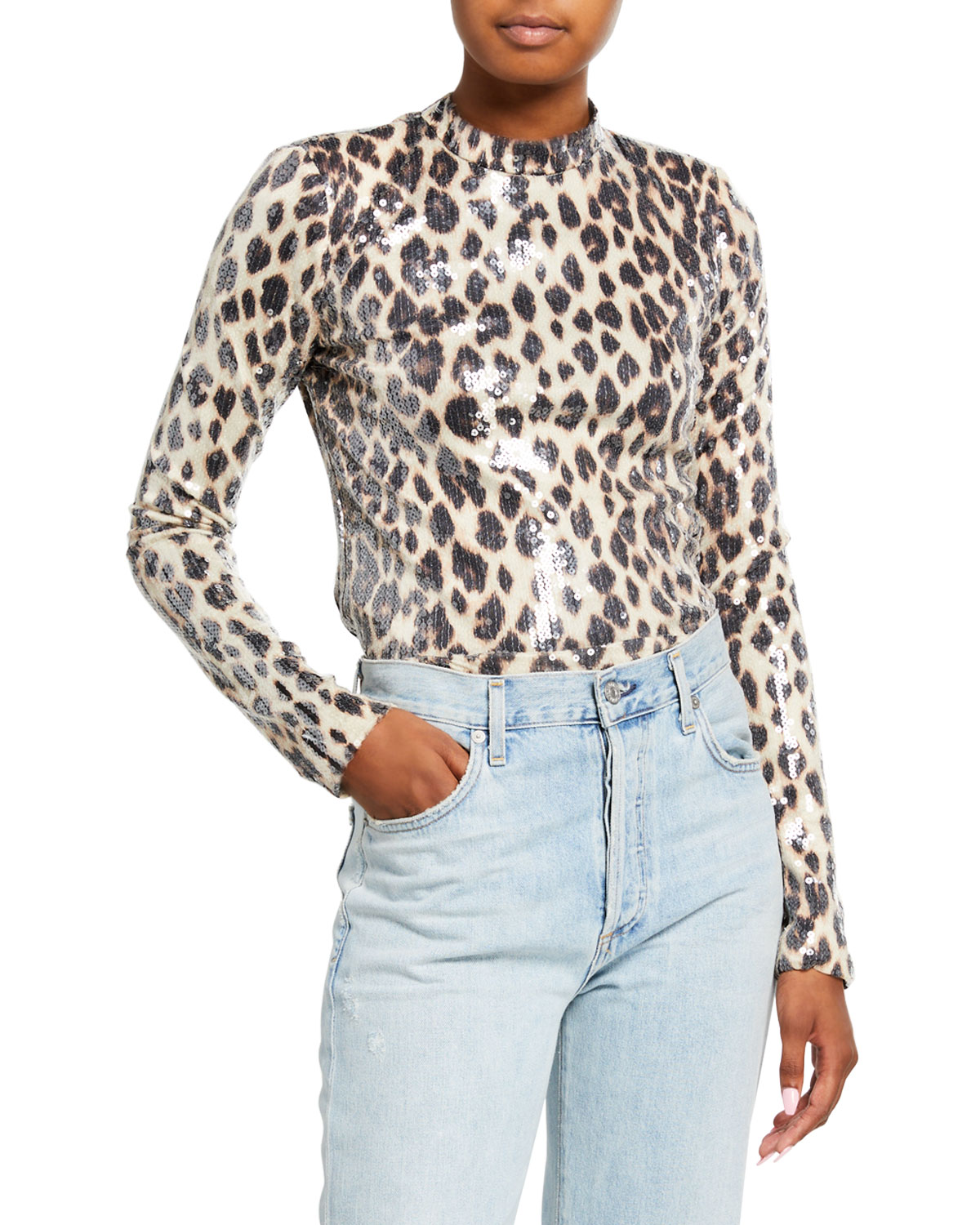 A.l.c Tops MARSHALL SEQUINED LEOPARD-PRINT TOP