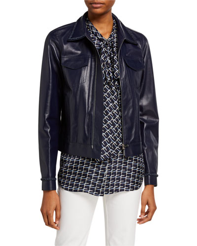 Destiny Plonge Lambskin Zip Front Jacket w/ Braided Trim