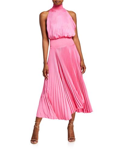 Renzo Pleated Halter Midi Dress
