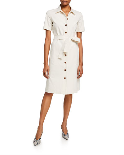 Kylie Button-Front Fundamental Bi Stretch Dress