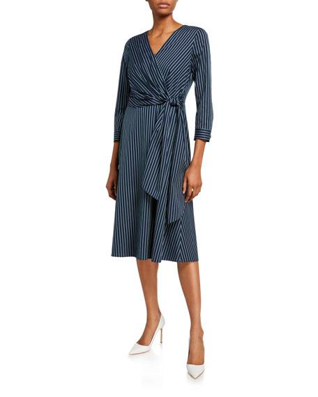 Lafayette 148 New York Penelope Series Stripe 3/4-Sleeve Wrap Dress