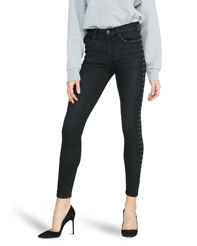 Hudson Jeans BARBARA SUPER SKINNY ANKLE JEANS W/ STUDS