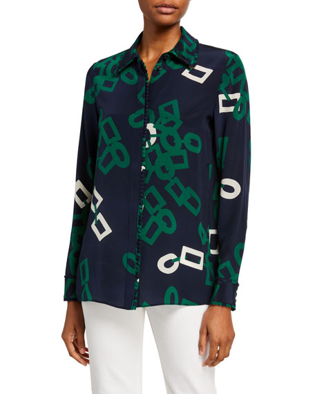 Lafayette 148 New York Duvall Falling Link Button-Down Silk Blouse