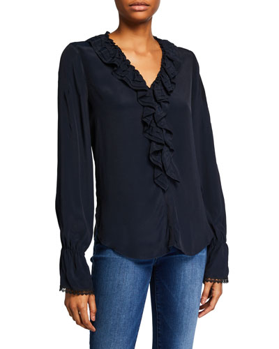 V-Neck Ruffle Long-Sleeve Blouse