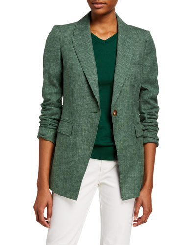 Heather Marled Cloth One-Button Jacket