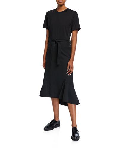 Belted Wool Combo T-Shirt Dress
