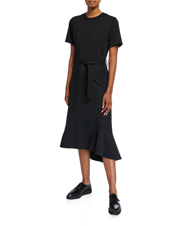 3.1 Phillip Lim Dresses BELTED WOOL COMBO T-SHIRT DRESS