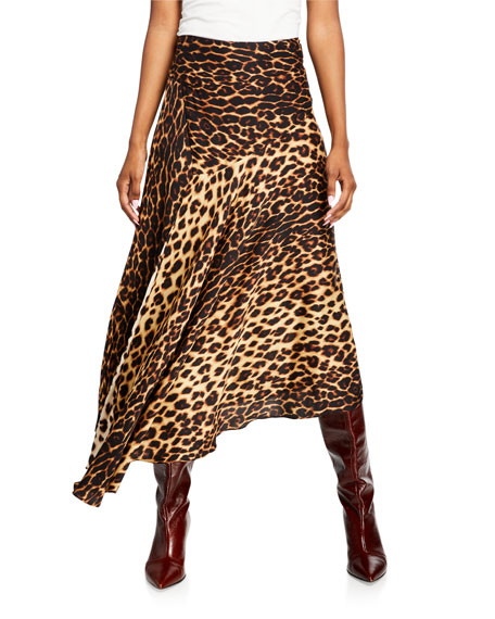 A.L.C. Lev Leopard-Print Asymmetrical Midi Skirt