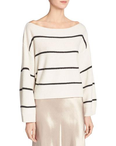 Wide-Stripe Cashmere Boat-Neck Sweater