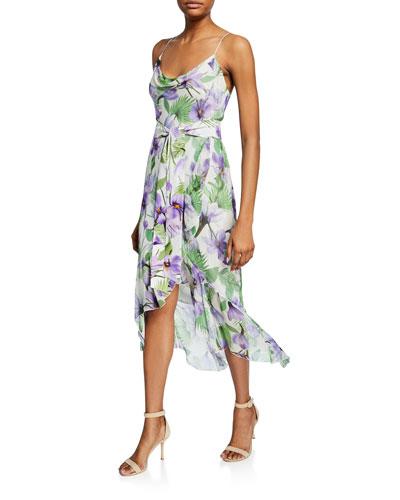 Tevi Cowl-Neck Asymmetric Floral Dress w/ Sash