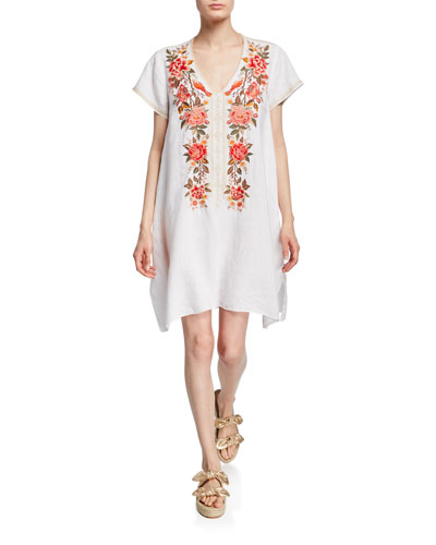Plus Size Paola Floral Embroidered Short-Sleeve Draped Linen Tunic Dress
