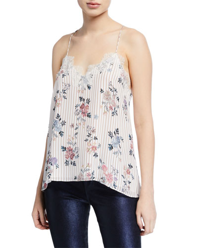 The Racer Floral-Print Silk Camisole