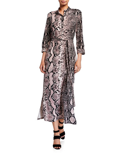 Belted Snake-Print Pope Collar Brushed Jersey Shirtdress